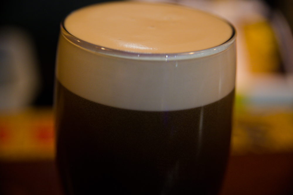 Head of foam on Guinness Beer